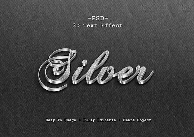 Серебряный эффект стиля текста 3d