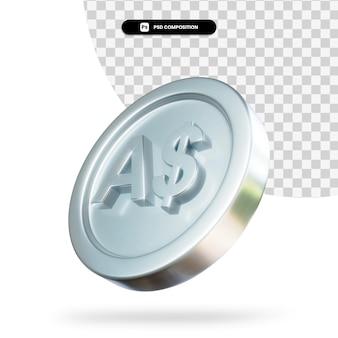 Серебряная монета австралийских долларов 3d-рендеринга изолированные Premium Psd