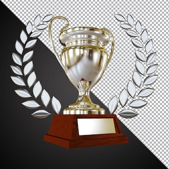 Silver award trophy cup 3d composition isolated