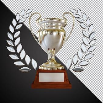 Серебряная награда трофей кубка 3d композиция изолированные