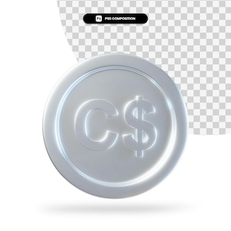 Серебряная монета канадский доллар 3d-рендеринг изолированные