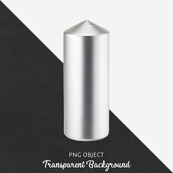 Silver candle on transparent background