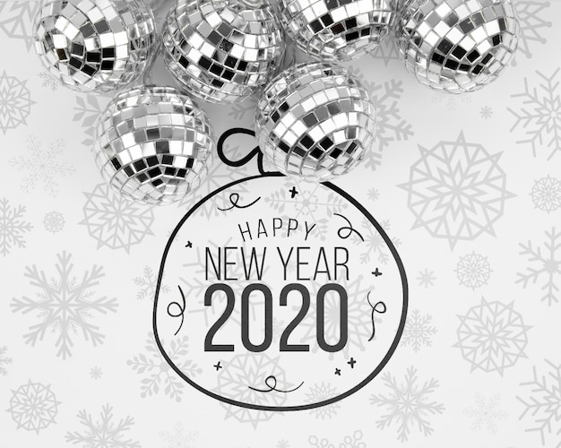 Silver christmas balls with happy new year 2020 doodle