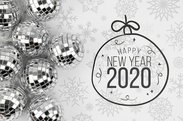 Silver christmas balls with happy new year 2020
