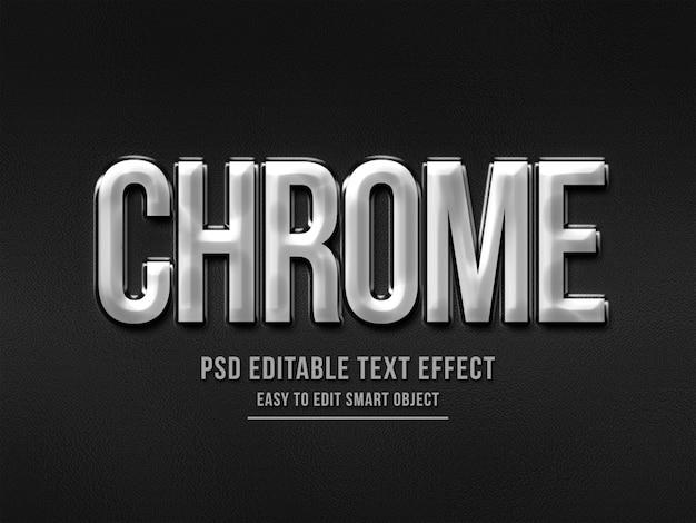 Текстовый эффект в стиле 3d с серебряным хромом