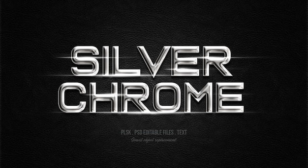 Silver chrome 3d text style effect
