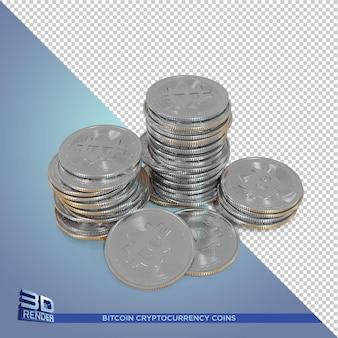 Серебряные монеты bitcoin cryptocurrency 3d визуализация изолированные