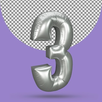 Silver color balloon of realistic 3 number