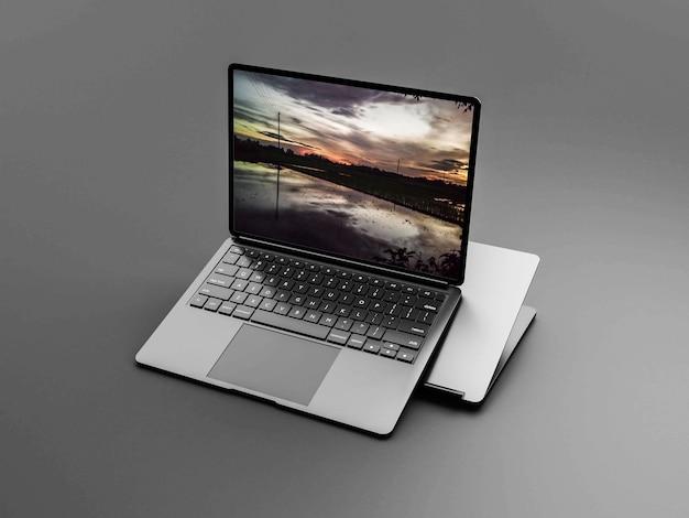 실버 컬러 노트북 목업