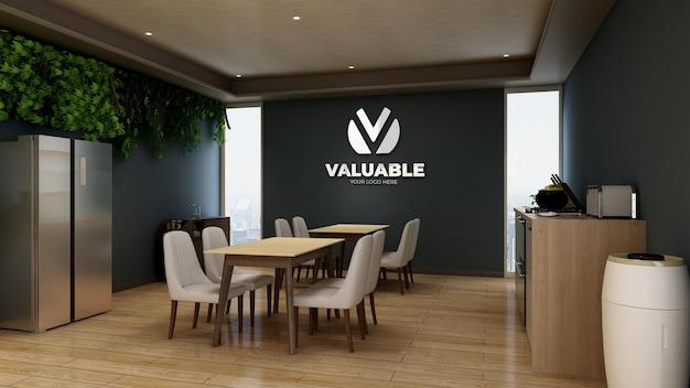 사무실 식료품 저장실 영역의 은색 회사 로고 모형
