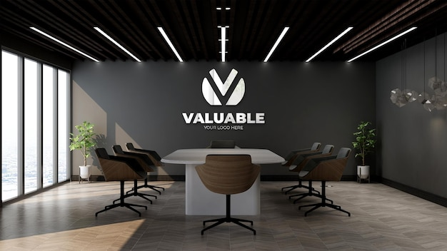 Silver company logo mockup in the office meeting room with black wall