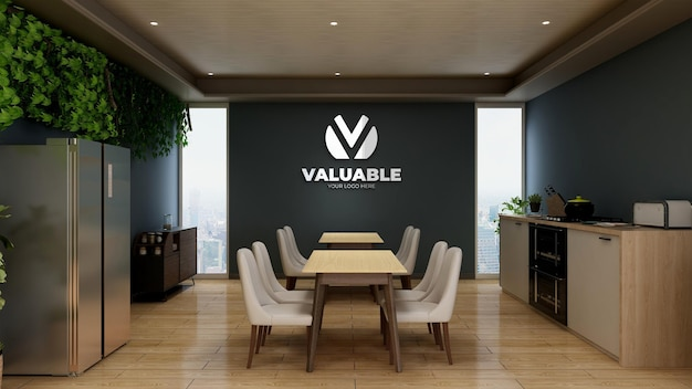 Silver company logo mockup in the office pantry area