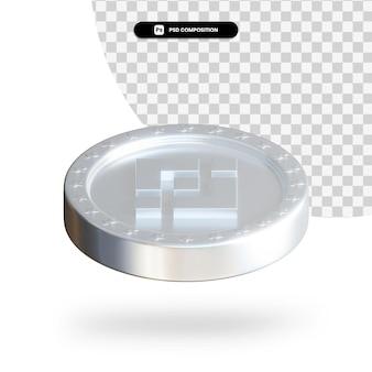 Серебряная монета криптовалюты 3d-рендеринга изолированные