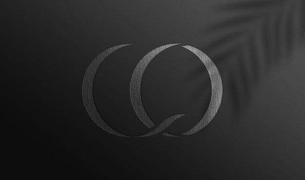 Silver debossed logo mockup on paper