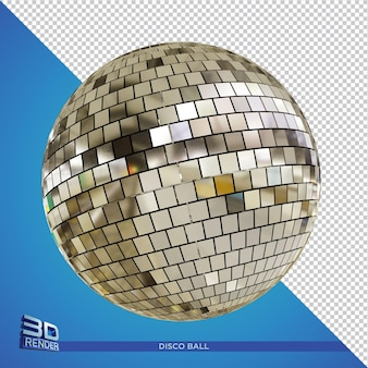 Silver discoball 3d rendering isolated