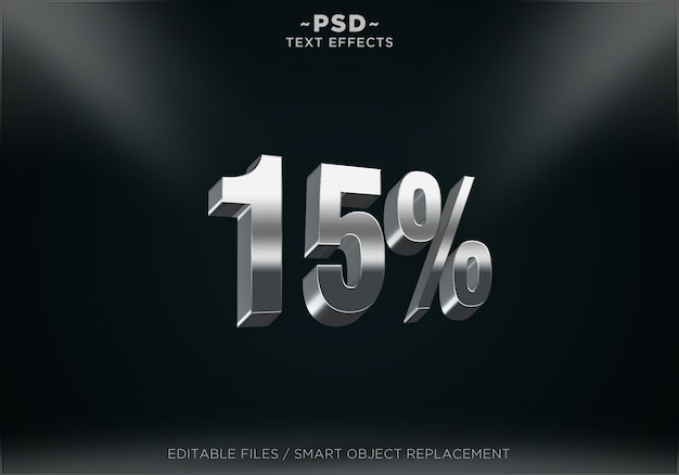Silver discount 15% editable text effects