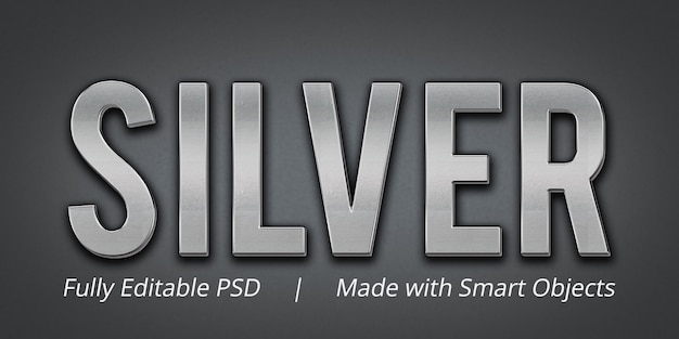 Silver editable text style effect mockup