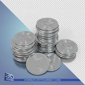 Серебряные монеты ethereum с криптовалютой 3d рендеринга изолированные