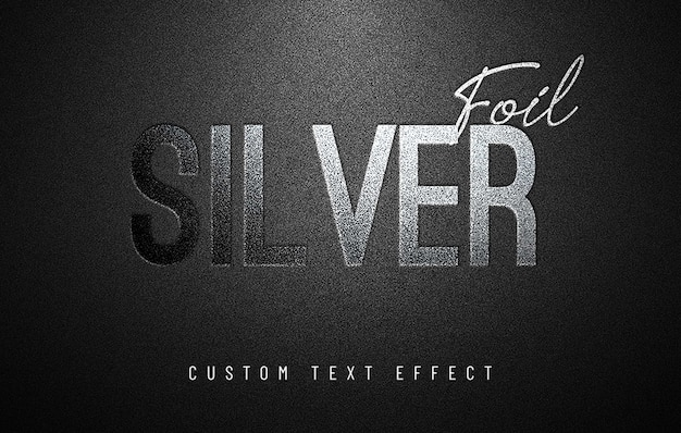 Silver foil custom text effect