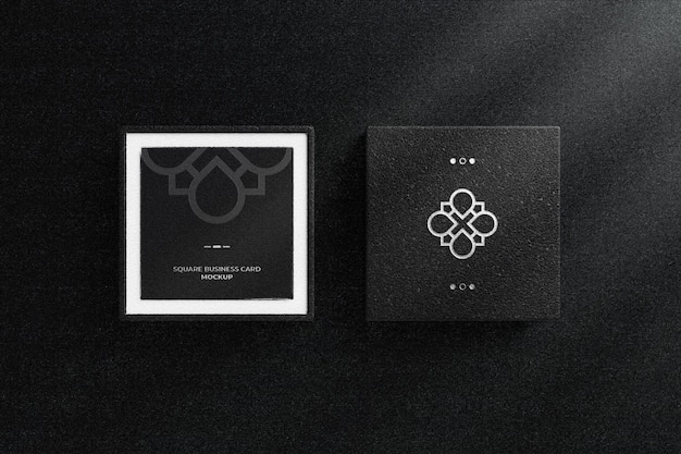 Silver foil logo on black leather box with square business card mockup