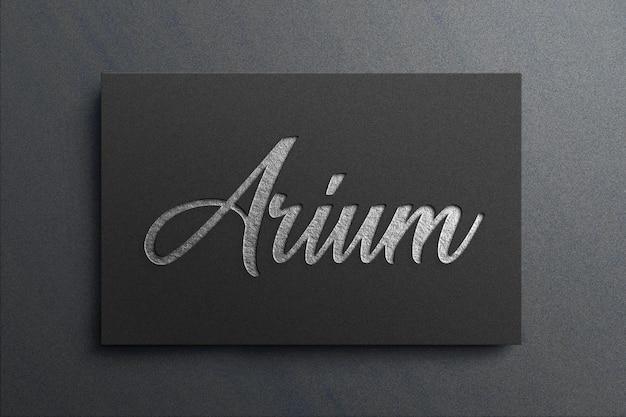 Макет логотипа из серебряной фольги
