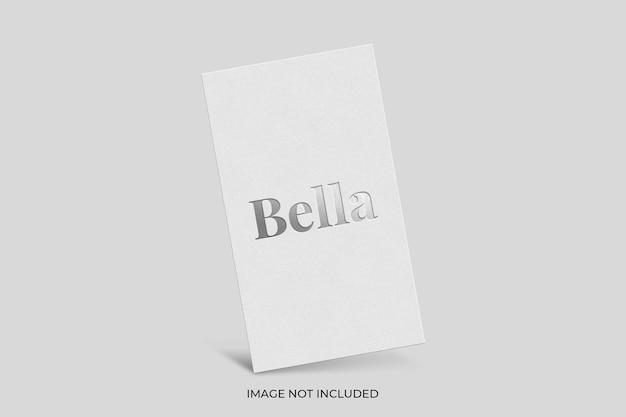 Silver foil stamped logo on white card mockup