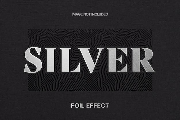 Шаблон текстового эффекта серебряной фольги