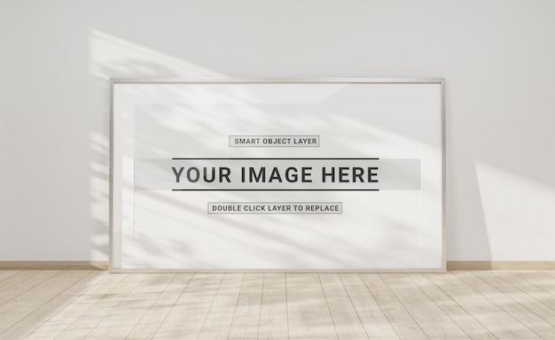 Silver frame leaning in interior mockup