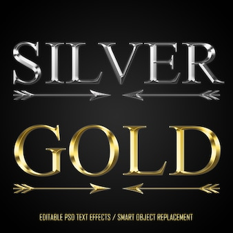 Silver and gold editable text