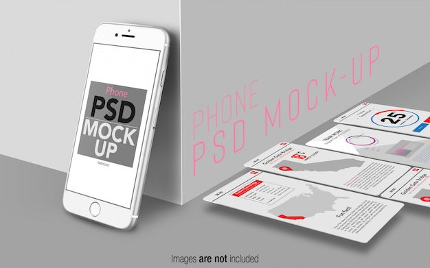 Silver iphone 8 psd mockup stage with ui screens