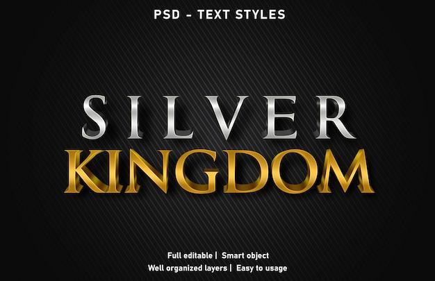 실버 Kingom 텍스트 효과 스타일 편집 가능한 Psd 프리미엄 PSD 파일