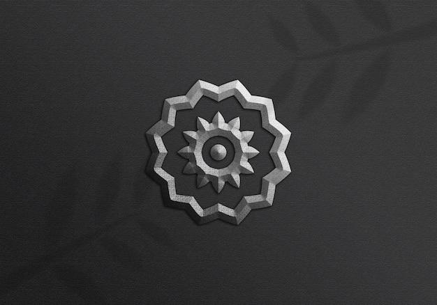 Silver logo mockup on black wall mockup