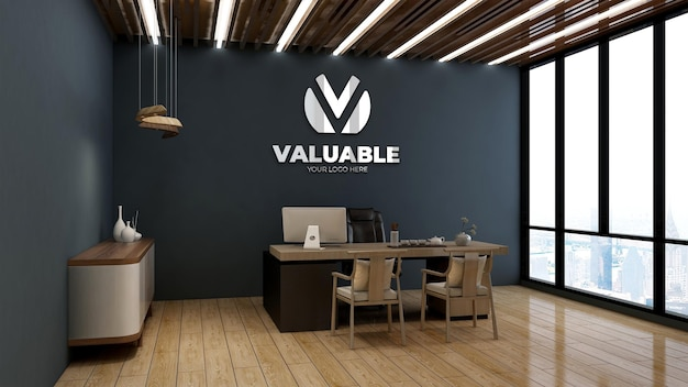 Silver logo mockup in office manager room with wooden theme interior design