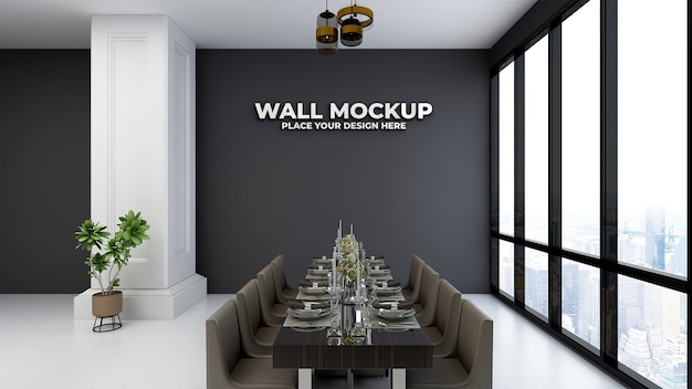Silver logo mockup on restaurant decoration wall