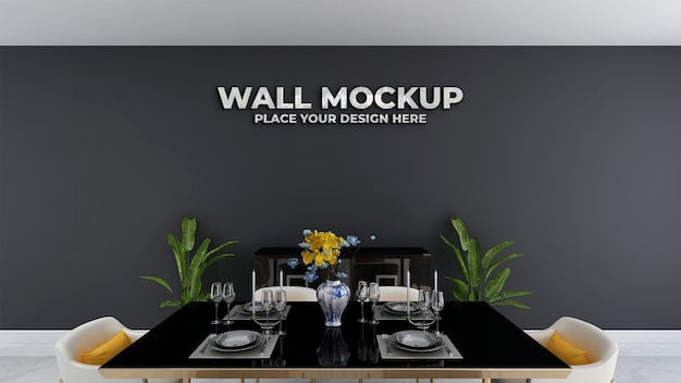 Silver logo mockup on restaurant decoration wall