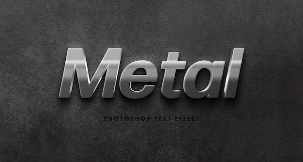 Silver metal text effect template