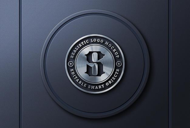 Silver metallic logo mockup