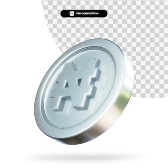 실버 naira 동전 3d 렌더링 절연