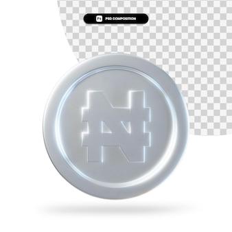 실버 나이라 동전 3d 렌더링 절연