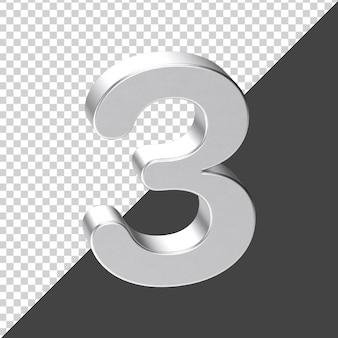 Silver number 3 3d rendering