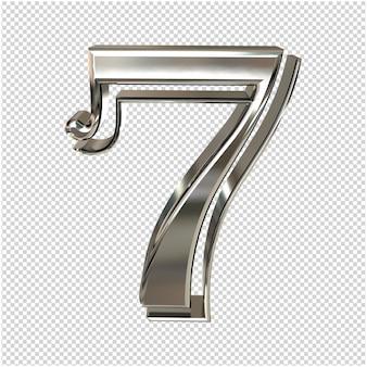 Silver number 7 3d rendering