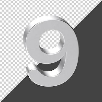 Silver number 9 3d rendering