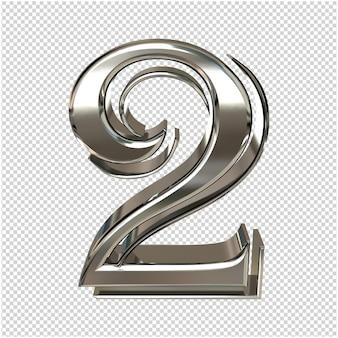 Серебряный номер 2 3d-рендеринга