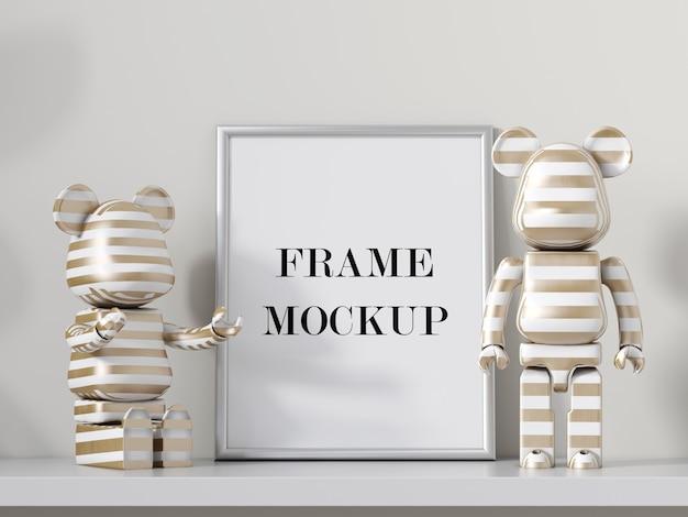 Silver photo frame beside robot toys 3d rendering mockup