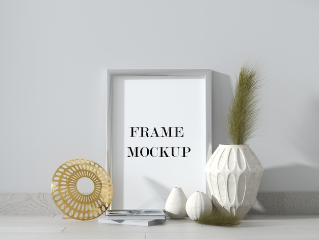 Silver picture frame mockup in 3d rendering