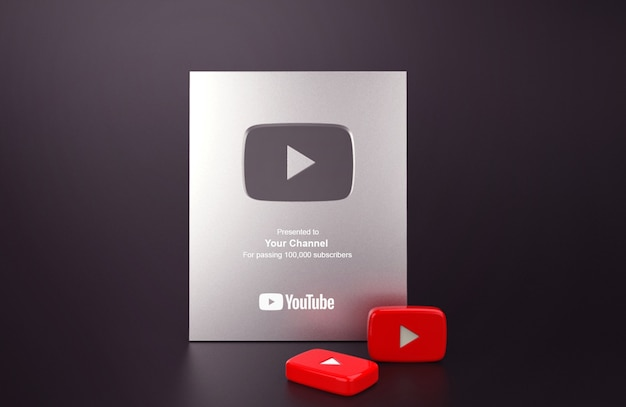 Silver play button youtube mockup