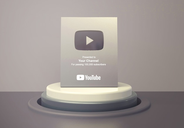 Silver play button youtube on round podium pedestal mockup