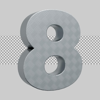 シルバーのリアルな3dレンダリング番号