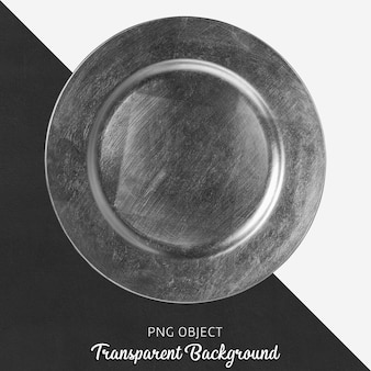 Silver round service plate on transparent background