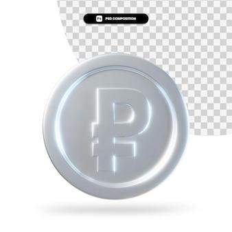 Серебряный рубль монета 3d-рендеринга изолированные